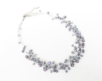 Silver gray freshwater pearl stone necklace with crystal on silk thread, short necklace, gray pearl necklace
