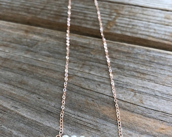 Rose Gold Freshwater Pearl Necklace, Bar Necklace, Rosegold necklace,  Beaded Pearl Necklace, Rose Gold Necklace, Christmas Gift