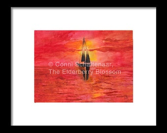 Father's Day Gift Idea Instant Print Download 5x7 Print from Watercolor Painting Sailboat in Sunset for matting and framing