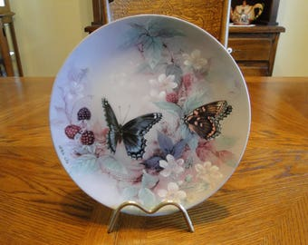 Retired Lena Liu Collector Plate, On Gossamer Wings Collection, Red-Spotted Purples, 3th, Butterflies, Flowers, Décor