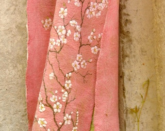 Hand painted nuno felted Shawl Sakura blooming Scarf spring blooming inspired OOAK Ready to Ship