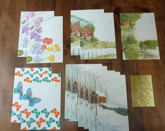 12 Vintage Folding Fold Up Letter Note Card Stationery Fold-N-Seal Sweet Pea Barn Sunflower Butterfly Covered Bridge Supply Lot