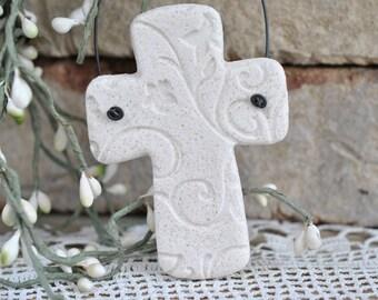 Imprinted Chunky Cross Salt Dough Baptism Gift Ornament