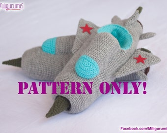 PATTERN for MIG-21 Jet Fighter Crocheted Slippers