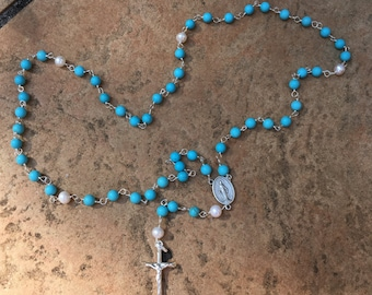 Turquoise Rosary with Sterling Silver Cross