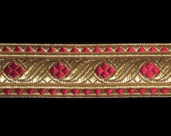 "823.5 Diamond bordeaux dark red metallic galloon 1-1/8"" (30mm), vestment trim, metallic gold trim, gold metallic ribbon, jacquard trim"