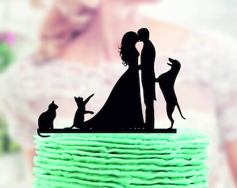 Wedding Cake topper with Cat and Dog , Wedding Cake topper with Dog and Cat, topper with dog and cat, Topper for wedding, rustic cake topper