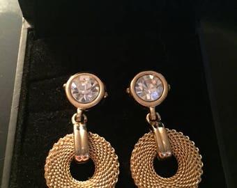 Vintage Swarovski Pierced Earrings, Gold Vintage Jewelry, Vintage Earrings, Swarovski Earrings