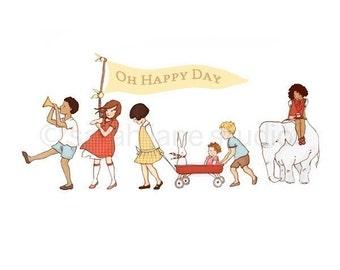 Children's Wall Art Print - Oh Happy Day - Girl & Boy Kids Nursery Room Decor