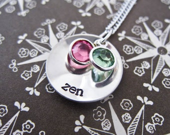 Custom Hand Stamped Stacked And Domed Mommy Necklace - Personalized Sterling Silver Name Pendant With Two Birth Stones