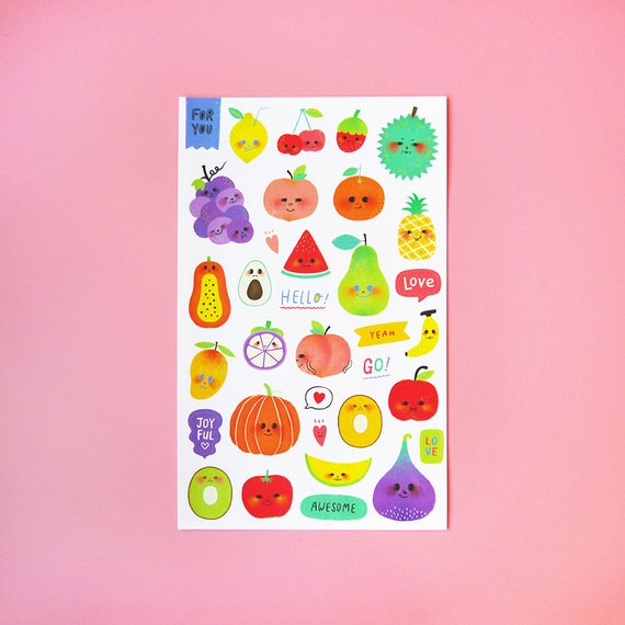 Happy fruits sticker sheet kiss cut stickers illustration