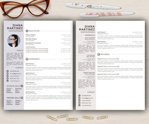 resume template desing cover letter 2 page cv a4  u0026 usa