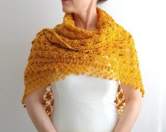 Mustard shawl, crochet shawl, bridal wrap, winter wedding, gift for her, bridal cover up, yellow shawl wrap, fast shipping, ready to ship