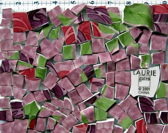 Purple and Pink Watercolors – Shabby Chic - 120 hand cut China Mosaic Tiles