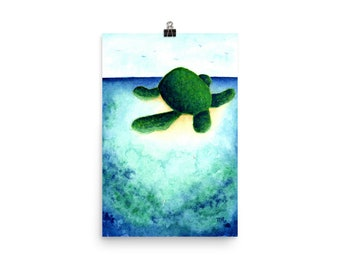 Turtle Island art watercolor print ocean inspired poster home decor art print island inspired aereal painting watercolor poster wall decor