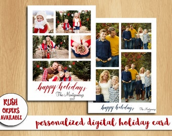 Personalized Holiday Photo Card Collage / Christmas Card / Photo Collage Card / Custom / Digital File / Printable