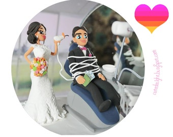 Dentist Wedding Cake Topper, Dentistry cake topper, Dental cake topper, Dental Unit cake topper, Doctor cake toppers,Stomatology cake topper