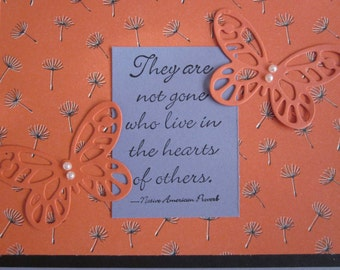 Handmade Sympathy Card With Butterflies in Lavender and Coral