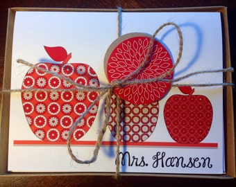 Personalized Notecards Apple Teacher Stationary Stationery set gift - APPLES