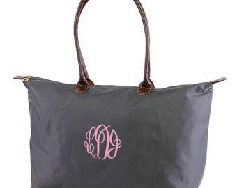 7 Nylon Tote Bag 21 inch,large utility tote,monogrammed bag,travel,women bag,zip top utility,fashion tote,monogrammed beach,zip bag,mm