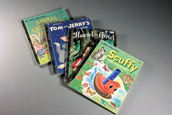 Children's Golden Books, Tom & Jerry, Scuffy, Animal Quiz, Hansel and Gretel, Kid's Books, Children's Stories, Set of 4, Collectible