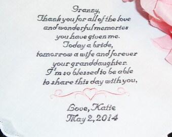 Personalized Handkerchief for Grandparent - Custom Embroidered Handkerchief - FREE Gift Box - Personalized Wedding Handkerchiefs