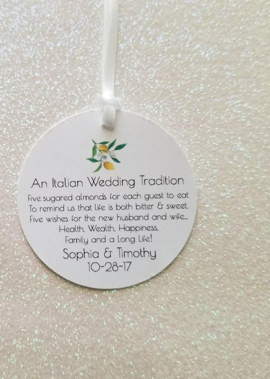 An Italian Wedding Tradition Favor Tags FIVE WISHES Jordan