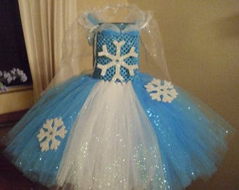 Birthday Frozen Inspired Elsa Costume Blue and White Flower Girl Tutu Dress with Snowflakes Detachable Cape