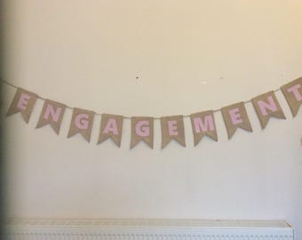 Personalised Hessian burlap bunting wedding engagement baby shower special occasion 1.20 per flag