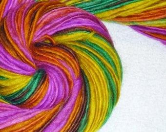 Neon Regenwald II Handspun Art Yarn - 74 Yards - stricken - häkeln - weben - Makramee - Mixed-Media - Superwash