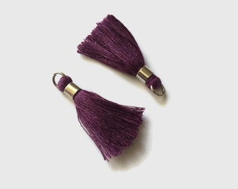 Set of 2 tassels plum 40mm with bail and silver plated ring