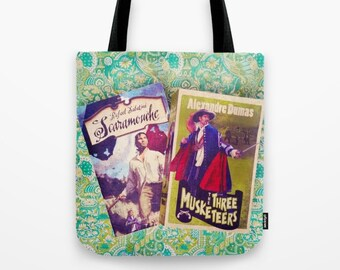 Swashbuckler Tote Bag: books, adventure, Three Muskateers, green, book covers, blue, librarian, literature