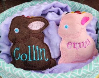 Chocolate Bunny-Shaped Easter Treat Bags, Personalized
