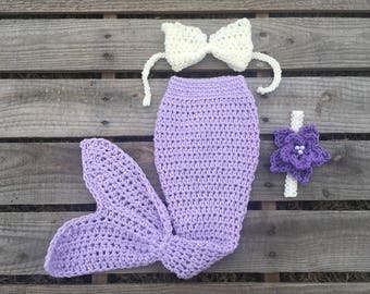 Mermaid Tail Photo Prop, Baby Mermaid Tail, mermaid fin, mermaid blanket, lavender mermaid tail, mermaid costume