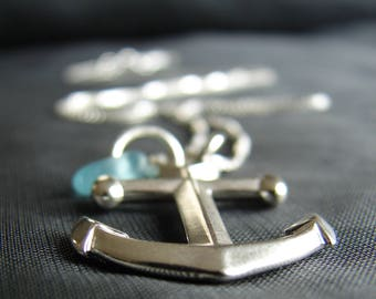 Sea Glass Necklace  / anchor necklace  / nautical necklace  /  sea glass jewelry / beach glass jewelry / gift for ocean lover / canada