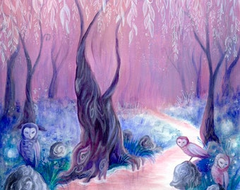 Owl Grove, Enchanted Forest, willow painting