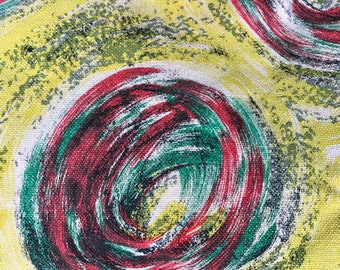 50's pillows vintage pillow 1950's French abstract mid century brushstroke fabric