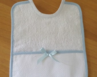 White and celestial baby bib with bow