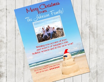 themed christmas cards beach xmas card etsy - Beach Themed Christmas Cards