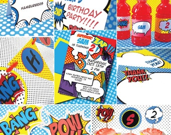 INSTANT DOWNLOAD,  Superhero BOY Birthday Printable Party Package, You Edit Yourself in Adobe Reader