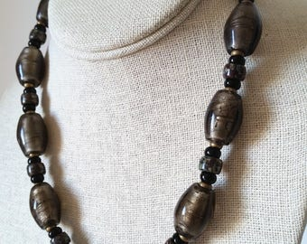 BROWN SILVERFOIL BEAD Short Necklace. Ash-Brown Oval Murano Lampwork Foil Beads. Taupe Bead 18 Inch Choker with Copper Clasp.