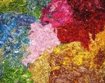 Kid Mohair locks (Angora), hand dyed  1 ounce Rainbow