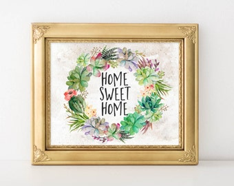 Succulents Printable Wall Art, Home sweet home printable quote, succulents art, digital art, succulents decor, home decor gallery wall