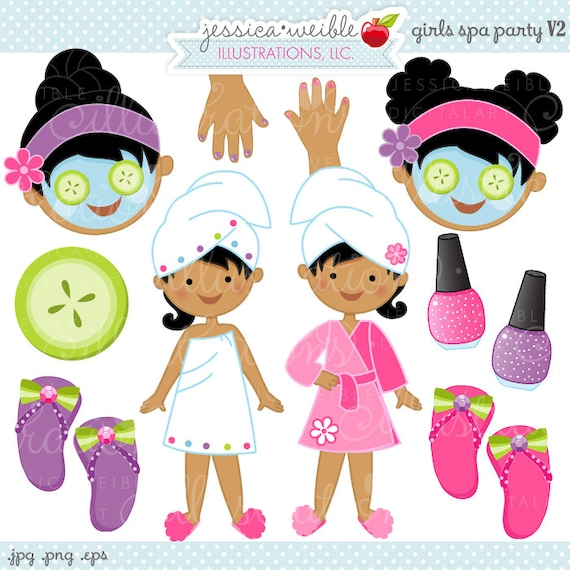 Nails Art Salon For Girls: Girls Spa Party V2 Cute Digital Clipart Commercial Use OK