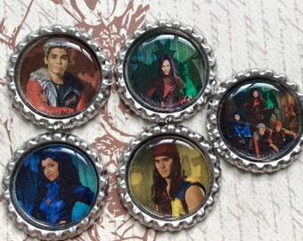 SET OF 5 Disney Descendants Bottle Caps For Pendants, Hairbows Hair Bow Centers - Ready to use