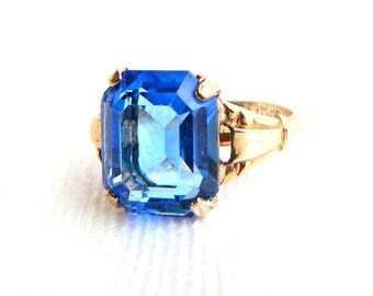 Vintage MCGrath Hamin 10K Gold Filled Blue Buckle Ring - 2 Carats Emerald Cut Glass - Topaz December Birthstone - Signed MH - Size 6