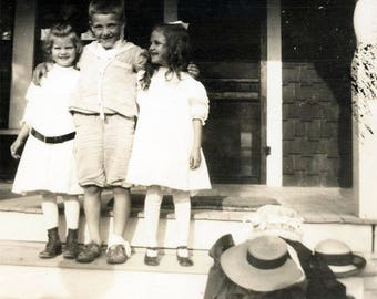 vintage photo 1917 Children on Porch Steps SMile Happiness Hats aside He has a bandage leg