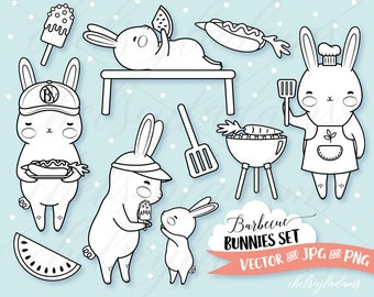 Barbecue Bunnies Digital Stamp Set, Vector Digi Stamps, Summer, BBQ Party Clipart, Kawaii Planner Graphics Download, Commercial Use, Cute