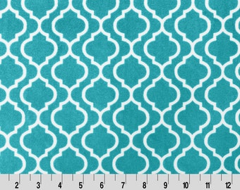 Trellis Minky Cuddle in Teal from Shannon Fabric