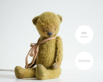 Pdf Sewing Pattern & Tutorial Mohair Teddy Bear 12 Inches Stuffed Animal Pattern For Women Artist Teddy Bear Pattern Plush Pattern Soft Toys